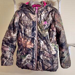 Mossy Oak Camo Puffer Jacket Coat Hooded Sz L
